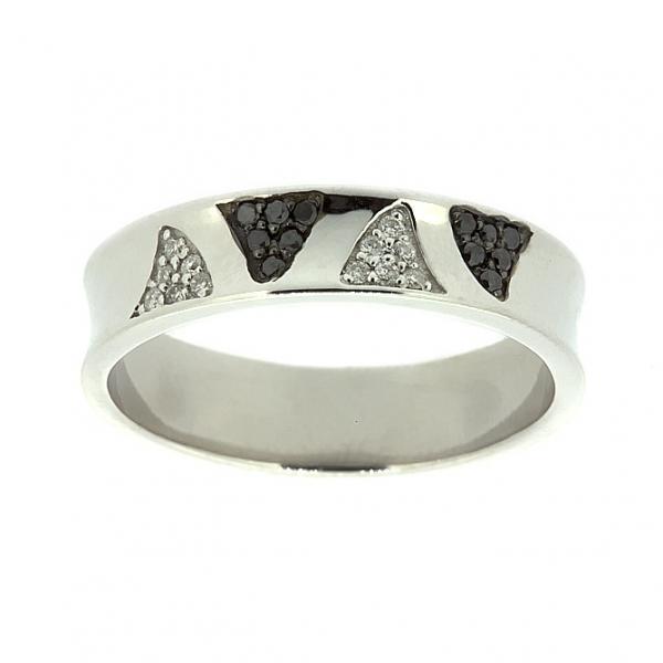 Ювелирное кольцо из белого золота 585 пробы с бриллиантами и чёрными бриллиантами RDDb-6737w