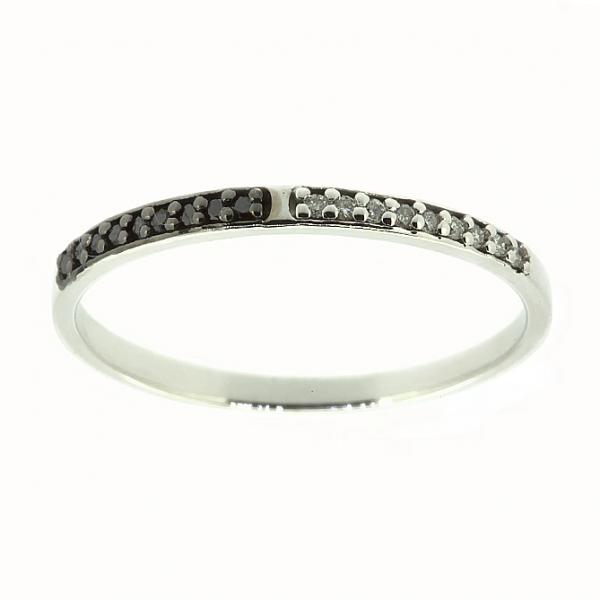 Ювелирное кольцо из белого золота 585 пробы с бриллиантами и чёрными бриллиантами RDDb-6739w