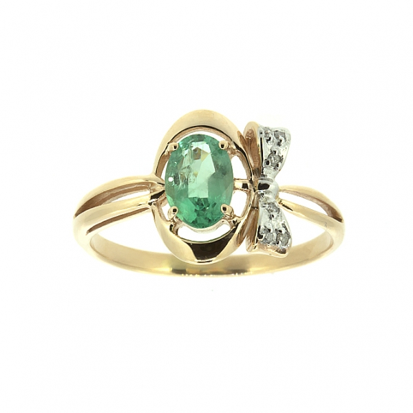 Ювелирное кольцо из красного золота 585 пробы с изумрудом и бриллиантами RDE-6754
