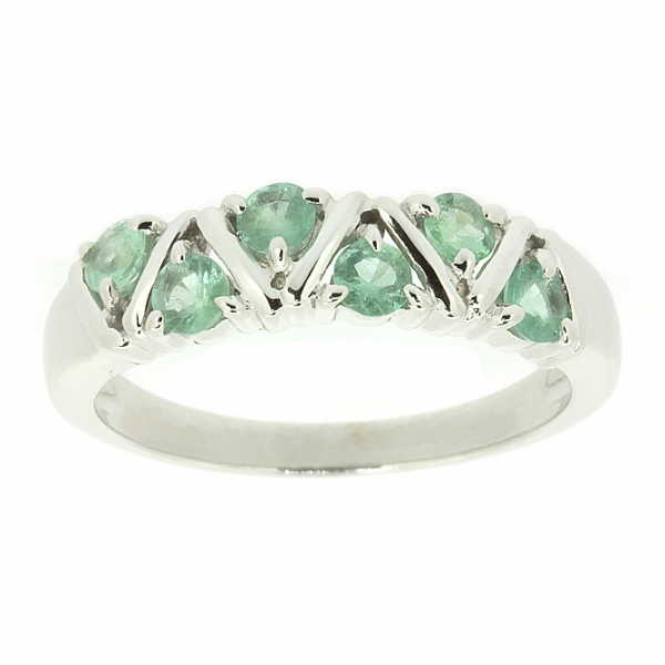 Ювелирное кольцо из белого золота 585 пробы с изумрудами RE-32792w