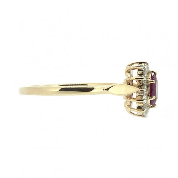 Ювелирное кольцо из красного золота 585 пробы с рубином и бриллиантами RDR-5525