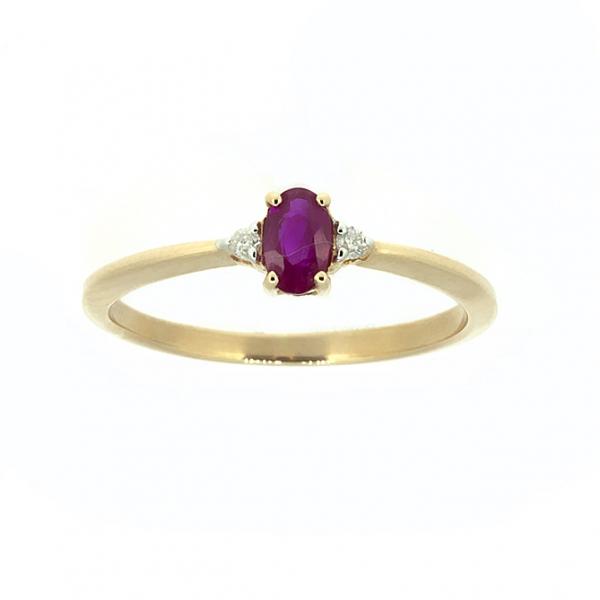 Ювелирное кольцо из красного золота 585 пробы с рубином и бриллиантами RR-6735