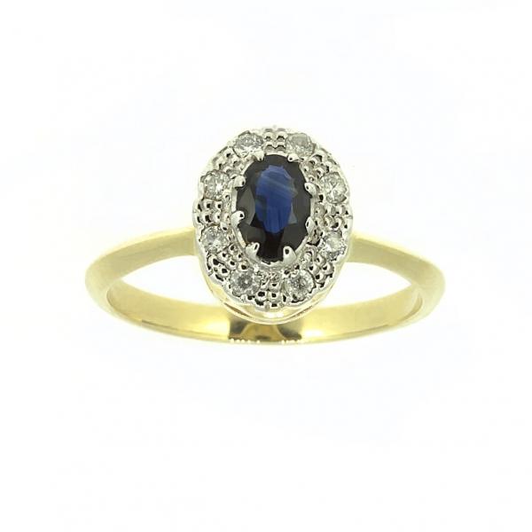 Ювелирное кольцо из жёлтого золота 585 пробы с сапфиром и бриллиантами RS-5502y
