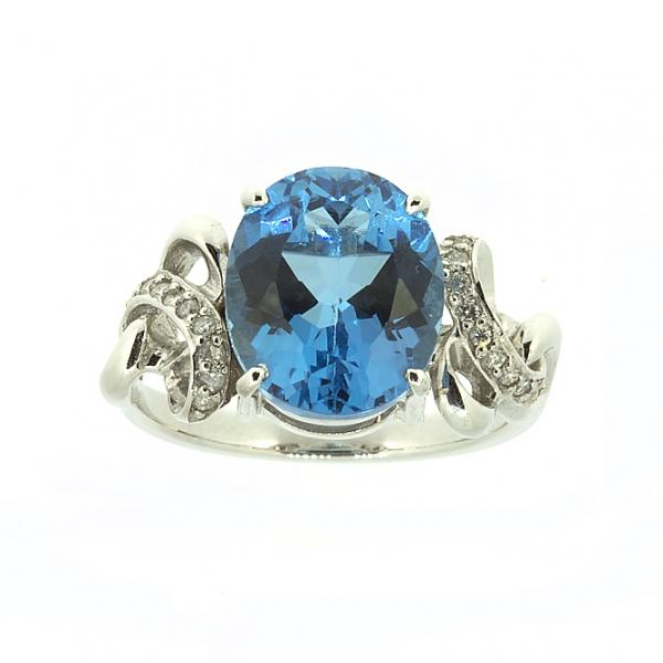 Ювелирное кольцо из белого золота 585 пробы с топазом и бриллиантами RT-6280w