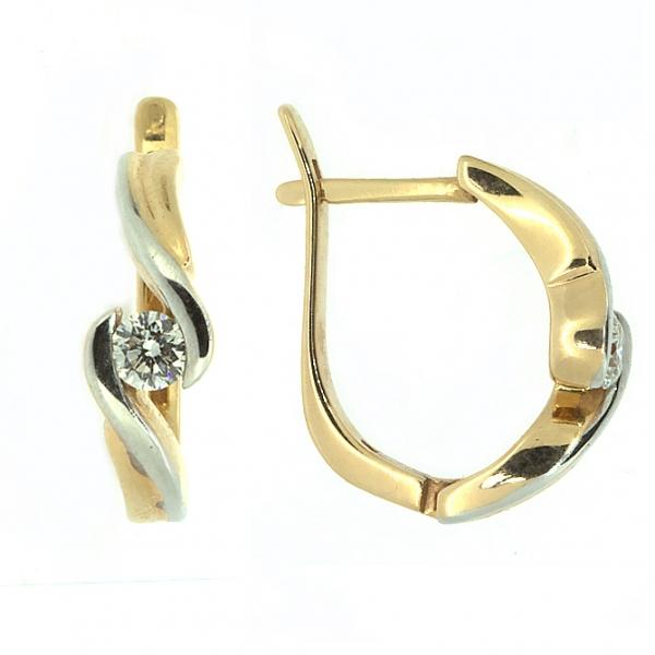 Ювелирные серьги из желтого золота 585 пробы с бриллиантами ED-6277/2y