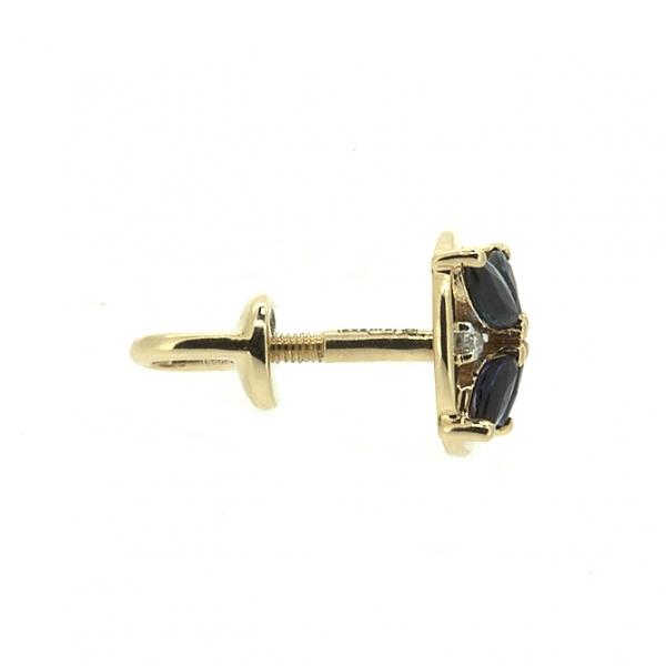 Золотые серьги-пусеты в красном золоте с сапфирами и бриллиантами EDS-6808