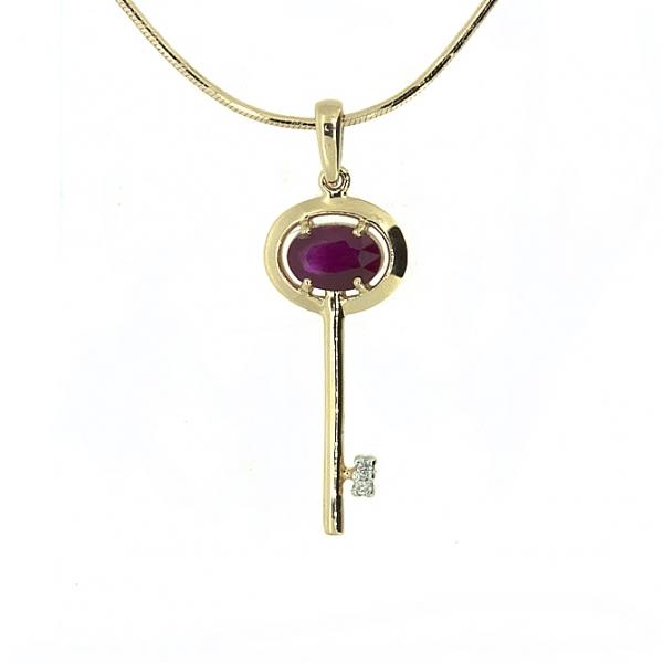 Ювелирная подвеска из красного золота 585 пробы с рубином и бриллиантами PR-6710