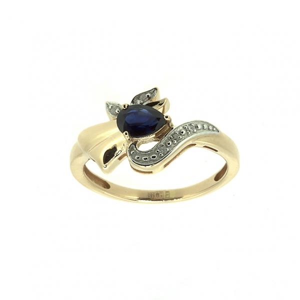 Ювелирное кольцо из красного золота 585 пробы с сапфиром и бриллиантами RDS-6810