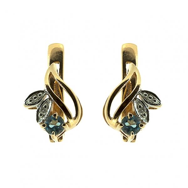 Ювелирные серьги из красного золота 585 пробы с топазами и бриллиантами ET-15678