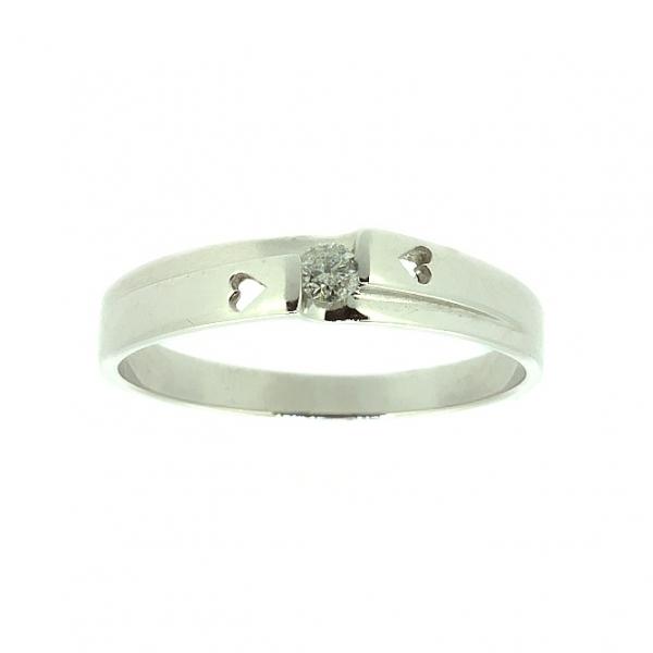 Ювелирное кольцо из белого золота 585 пробы с бриллиантом RD-6673w