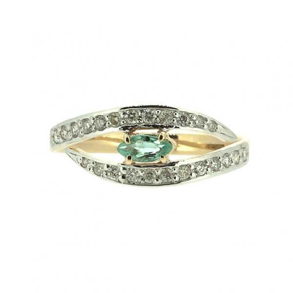 Ювелирное кольцо из красного золота 585 пробы с изумрудом и бриллиантами RE-6730