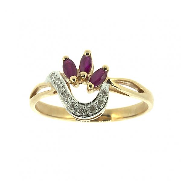 Ювелирное кольцо из красного золота 585 пробы с рубинами и бриллиантами RR-6701