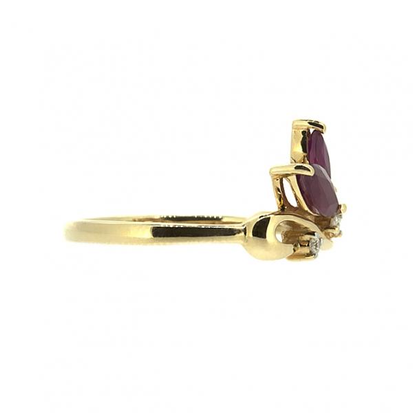 Ювелирное кольцо из красного золота 585 пробы с рубинами и бриллиантами RR-6734