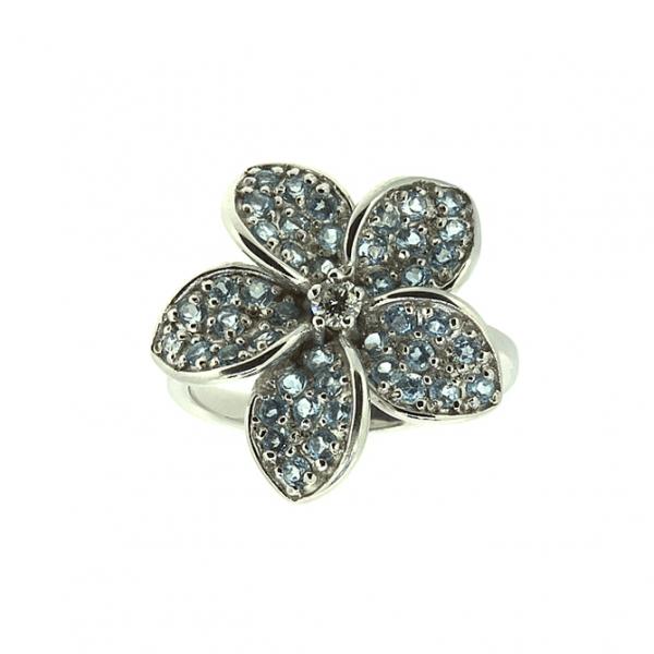 Ювелирное кольцо из белого золота 585 пробы с топазами и бриллиантом RDT-6503w