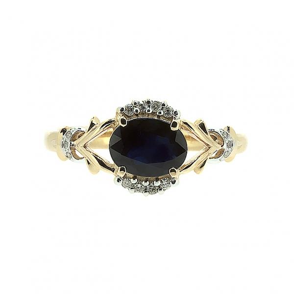 Ювелирное кольцо из красного золота 585 пробы с сапфиром и бриллиантами RS-6640