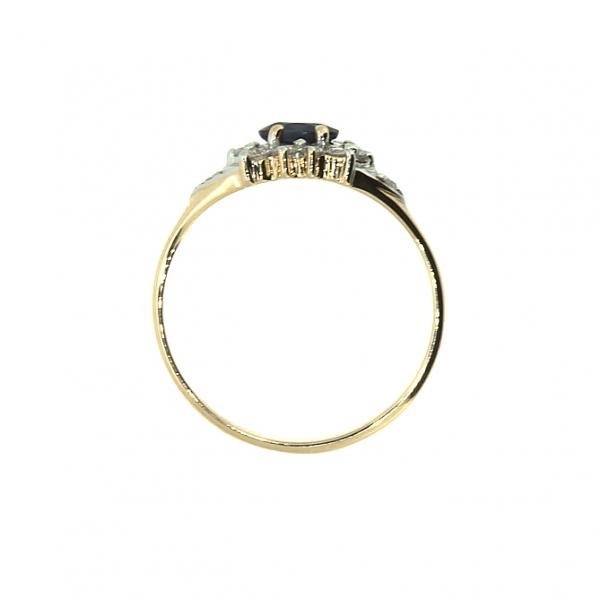 Ювелирное кольцо из красного золота 585 пробы с сапфиром и бриллиантами RS-6742