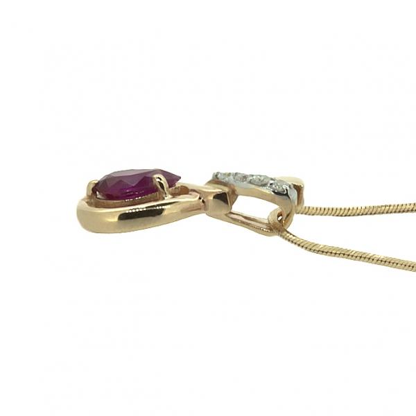 Ювелирная подвеска из красного золота 585 пробы с рубином и бриллиантами PR-5514