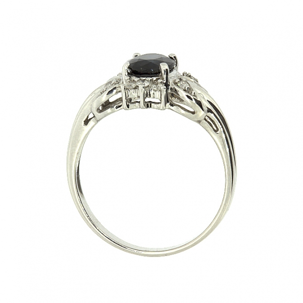 Ювелирное кольцо из белого золота 585 пробы с сапфиром и бриллиантами RS-1101w