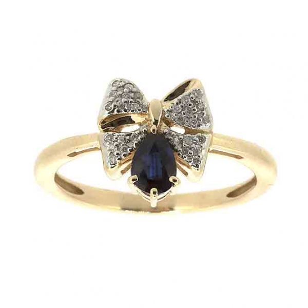 Ювелирное кольцо из красного золота 585 пробы с сапфиром и бриллиантами RDS-5557