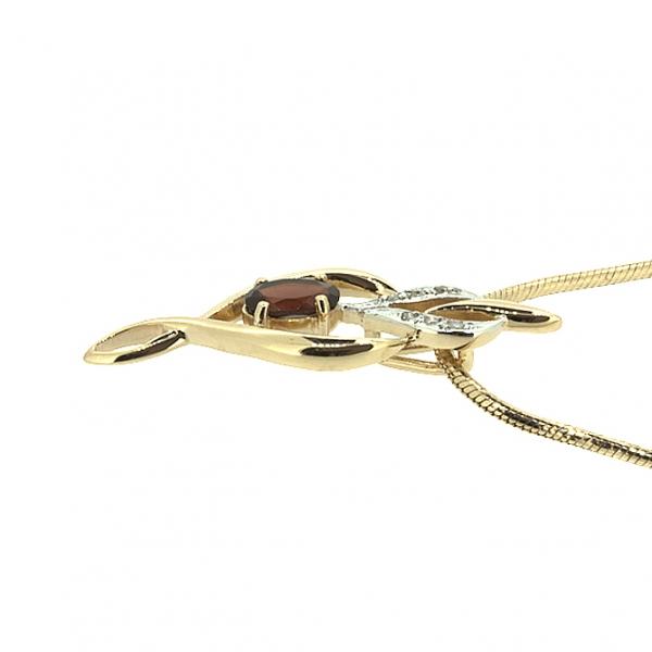 Ювелирная подвеска из красного золота 585 пробы с гранатом и бриллиантами PGn-6643