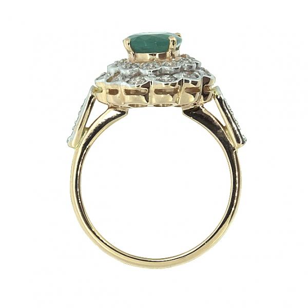 Ювелирное кольцо из красного золота 585 пробы с изумрудом и бриллиантами RE-6283
