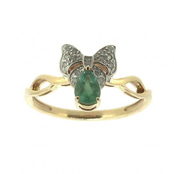 Ювелирное кольцо из красного золота 585 пробы с изумрудом и бриллиантами RDE-5539