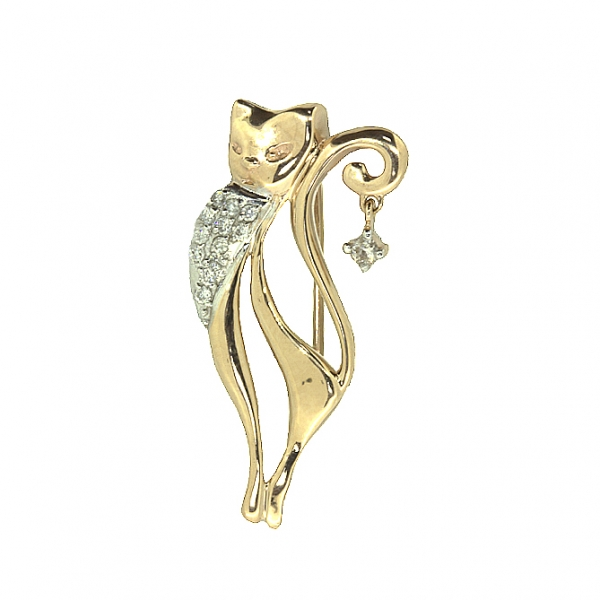 Ювелирная брошь из красного золота 585 пробы с бриллиантами BD-6836