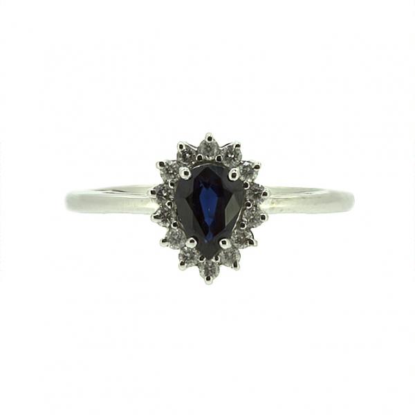 Ювелирное кольцо из белого золота 585 пробы с сапфиром и бриллиантами RDS-5552w