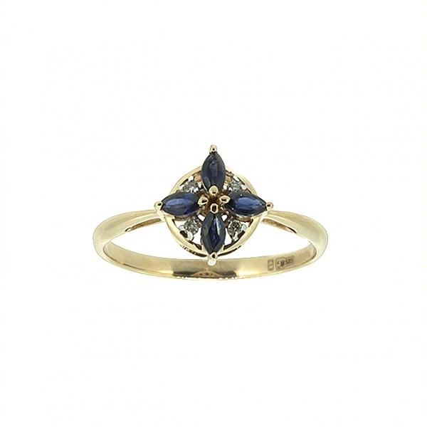Ювелирное кольцо из красного золота 585 пробы с сапфирами и бриллиантами RDS-6825