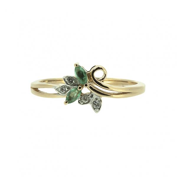 Ювелирное кольцо из красного золота 585 пробы с изумрудами и бриллиантами RDE-5565