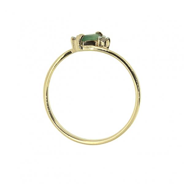 Ювелирное кольцо из красного золота 585 пробы с изумрудом и бриллиантами RDE-5570