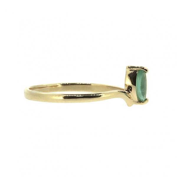 Ювелирное кольцо из красного золота 585 пробы с изумрудом и бриллиантами RDE-5572