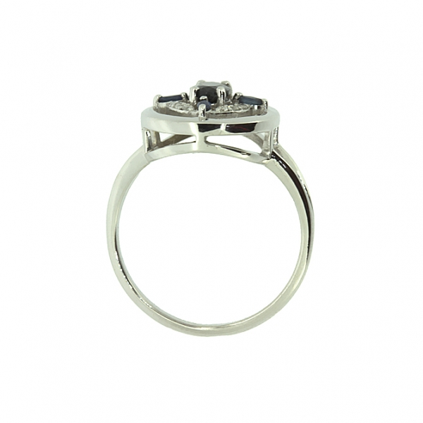 Ювелирное кольцо из белого золота 585 пробы с сапфирами и бриллиантами RDS-5517w