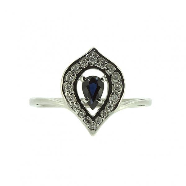 Ювелирное кольцо из белого золота 585 пробы с сапфиром и бриллиантами RDS-6840w