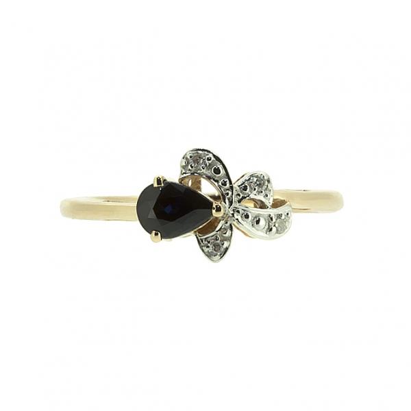 Ювелирное кольцо из красного золота 585 пробы с сапфиром и бриллиантами RDS-5569