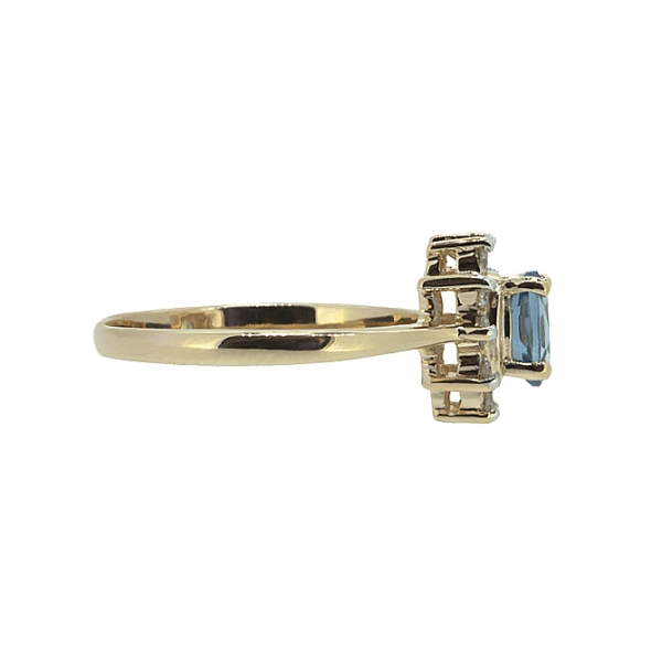 Ювелирное кольцо из красного золота 585 пробы с топазом и бриллиантами RT-4235