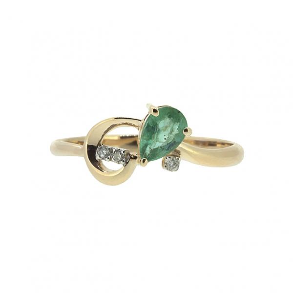 Ювелирное кольцо из красного золота 585 пробы с изумрудом и бриллиантами RDE-5547