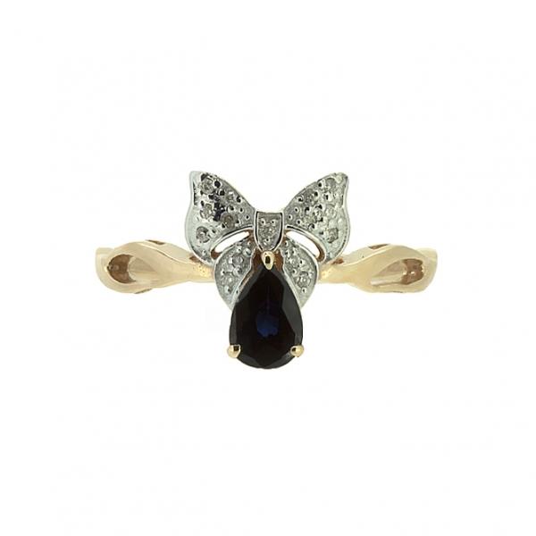 Ювелирное кольцо из красного золота 585 пробы с сапфиром и бриллиантами RDS-5539
