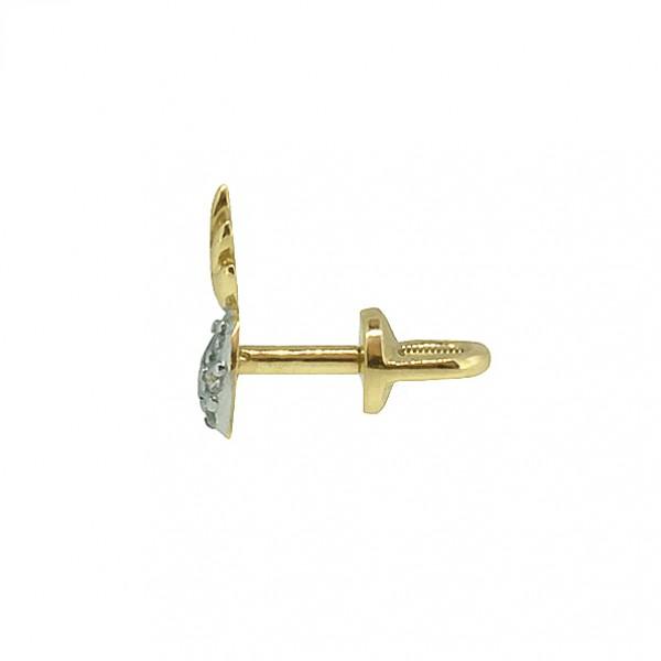 Золотые серьги-пусеты в красном золоте с бриллиантами ED-00260