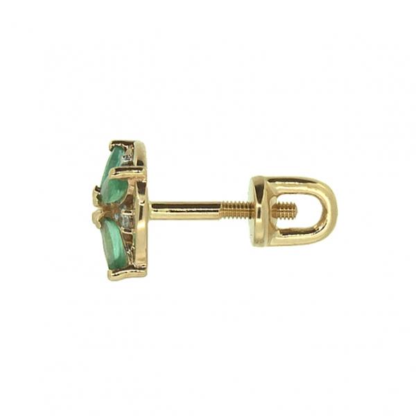Золотые серьги-пусеты в красном золоте с изумрудами и бриллиантами EDE-6808