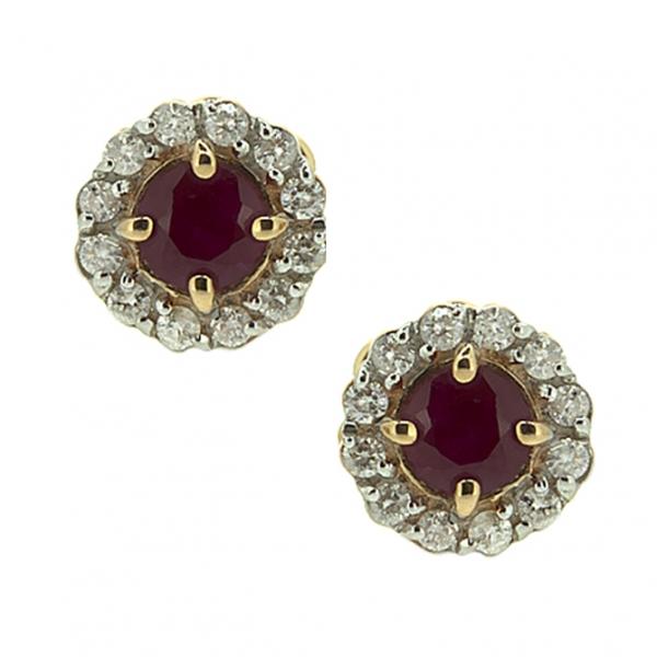 Золотые серьги-пусеты в красном золоте с рубинами и бриллиантами ER-6539