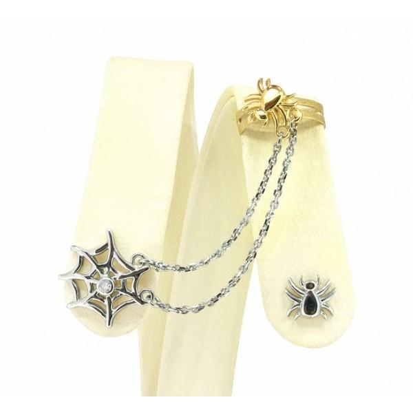 Ювелирные серьги-каффы из белого золота 585 пробы с бриллиантом ED-00264w