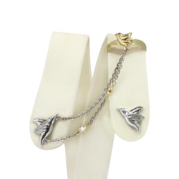 Ювелирные серьги-каффы из белого золота 585 пробы с бриллиантами ED-00266w