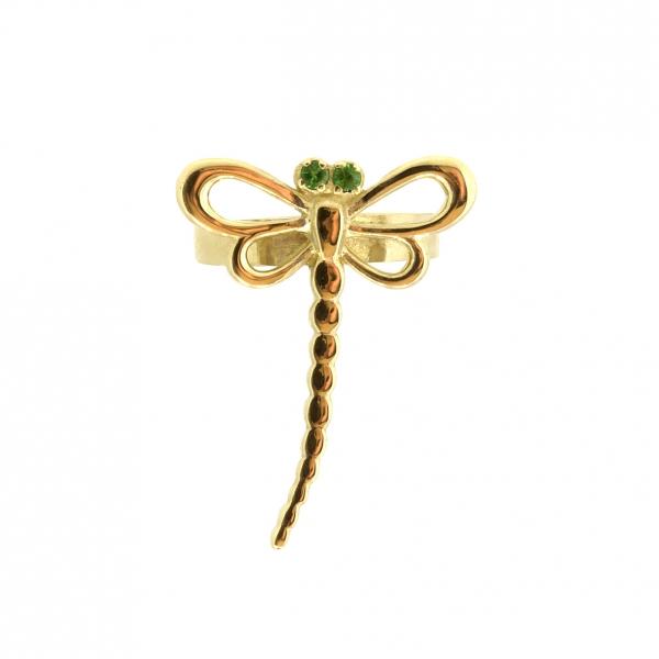 Ювелирная серьга-кафф из красного золота 585 пробы с зелеными гранатами ETsav-00272