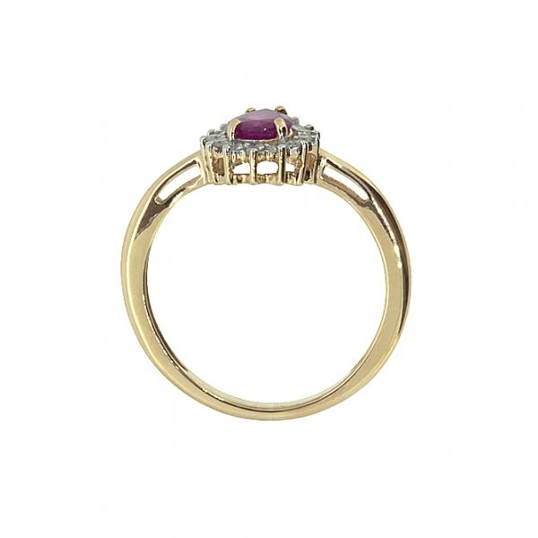 Ювелирное кольцо из красного золота 585 пробы с рубином и бриллиантами RDR-5552
