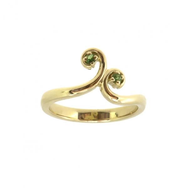 Ювелирное кольцо на первую фалангу из жёлтого золота 585 пробы с зелеными гранатами RTsav-00273y