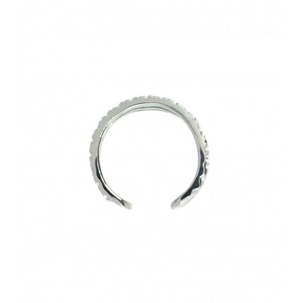 Ювелирная серьга-кафф из серебра 925 пробы с фианитами ECz-00275Ag