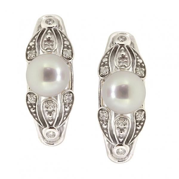 Ювелирные серьги из белого золота 585 пробы с жемчугом и бриллиантами EDP-6856w