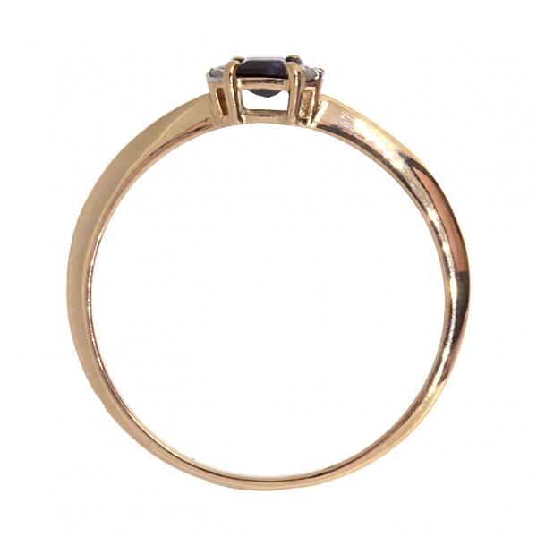 Ювелирное кольцо из красного золота 585 пробы с сапфиром и бриллиантами RDS-6859