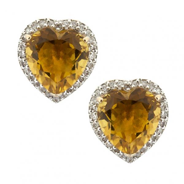 Золотые серьги-пусеты в красном золоте с цитринами и бриллиантами ECt-6656